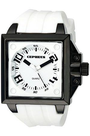 CEPHEUS Męski zegarek kwarcowy z białym wyświetlaczem analogowym i białym silikonowym paskiem CP904-676