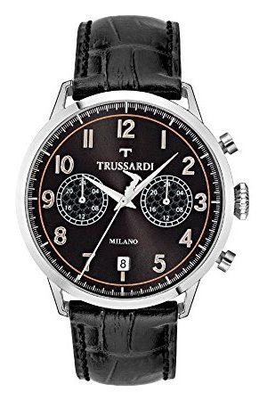 Trussardi Męski analogowy kwarcowy zegarek ze skórzanym paskiem R2451123003