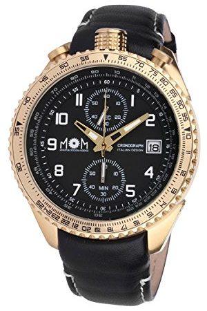 M.O.M. Manifattura Orologiaia Modenese Męski chronograf kwarcowy zegarek ze skórzanym paskiem PM7400-622