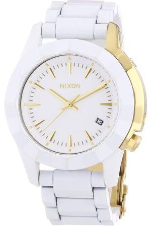 Nixon Damski zegarek na rękę Monarch All White/Złoto Analogowy Kwarc Stal szlachetna powlekana A2881035-00