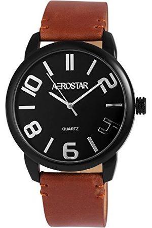 Aerostar Męski analogowy zegarek kwarcowy z imitacji skóry 21107100004