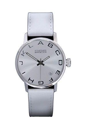 666Barcelona Uniseks dla dorosłych analogowy zegarek kwarcowy ze skórzanym paskiem 66-271