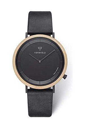 Kerbholz Zegar drewniany – Masterpieces Collection Slim analogowy zegarek kwarcowy, bardzo płaska obudowa z naturalnego drewna, pasek z prawdziwej skóry, średnica 40 mm bransoletka klon