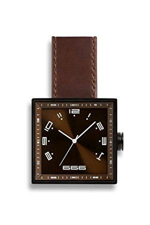 666Barcelona Unisex Dorośli analogowy zegarek kwarcowy ze skórzanym paskiem 66-091