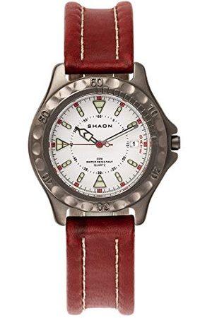 Shaon Męski analogowy zegarek kwarcowy ze skórzanym paskiem 22-6102-17