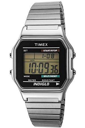 Timex Męski zegarek na rękę cyfrowy kwarcowy bransoletka No Size Silvertone