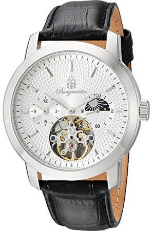 Burgmeister Męski automatyczny zegarek ze srebrnym wyświetlaczem analogowym i czarną skórzanym paskiem BM225-112