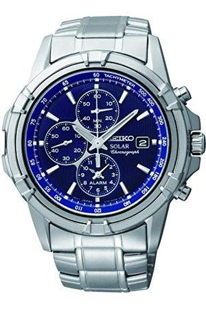 Seiko Męski chronograf zasilany energią słoneczną zegarek z paskiem ze stali nierdzewnej SSC141P1
