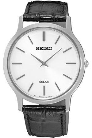 Seiko Solar zegarek męski ze stali nierdzewnej ze skórzanym paskiem SUP873P1