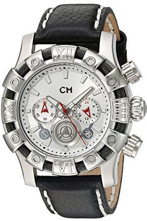 Carlo Monti Arezzo męski zegarek kwarcowy ze srebrną tarczą chronografem i czarnym skórzanym paskiem CM122-112