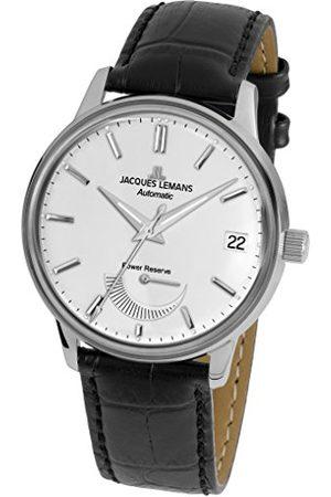 Jacques Lemans Męski analogowy automatyczny zegarek ze skórzanym paskiem N-22A