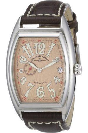 Zeno Męski automatyczny zegarek Tonneau OS 8081-9-h6 ze skórzanym paskiem