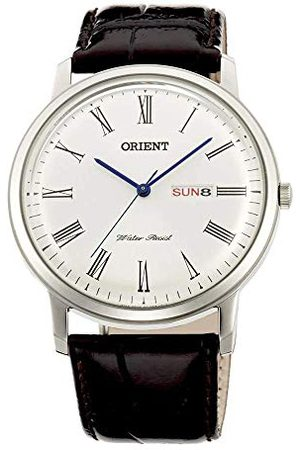 Orient Męski analogowy zegarek kwarcowy ze skórzanym paskiem FUG1R009W6
