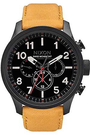 Nixon Męski cyfrowy zegarek kwarcowy ze skórzaną bransoletką A1082-2448-00