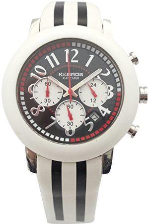 K&Bros Męski chronograf kwarcowy zegarek ze skórzanym paskiem 9427-1-710