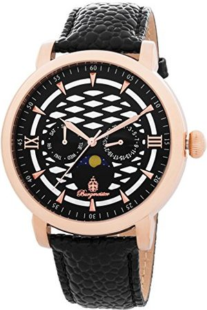 Burgmeister Męski zegarek kwarcowy z czarną tarczą analogową wyświetlaczem i czarną skórzaną bransoletką BM217-322
