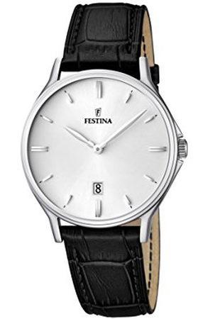 Festina Męski zegarek kwarcowy z białym wyświetlaczem analogowym i czarnym skórzanym paskiem F16745/2