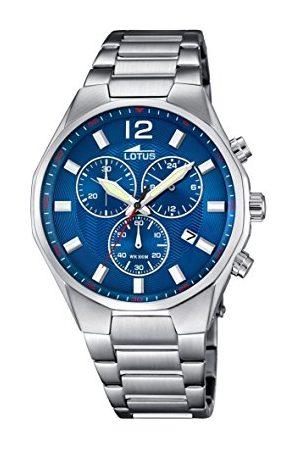 Lotus Męski zegarek kwarcowy z niebieskim wyświetlaczem chronografu i srebrną bransoletką ze stali nierdzewnej 10125/3