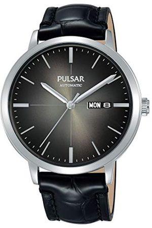 Pulsar Automatyczny zegarek męski ze stali nierdzewnej ze skórzanym paskiem PL4045X1