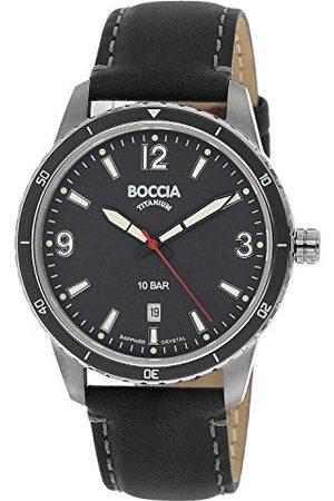 Boccia Męski analogowy kwarcowy zegarek z prawdziwej skóry pasek 3635-01