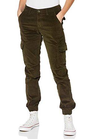 Urban classics Damskie spodnie damskie z wysokim stanem cargo Corduroy Pants