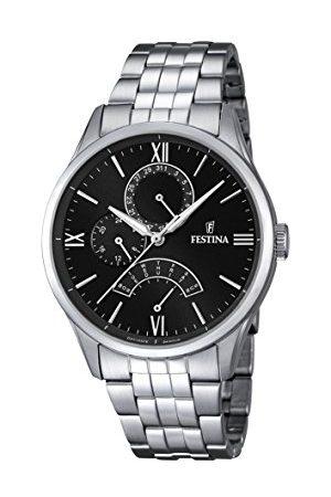 Festina Męski zegarek kwarcowy z czarnym wyświetlaczem analogowym i srebrną bransoletą ze stali nierdzewnej F16822/4