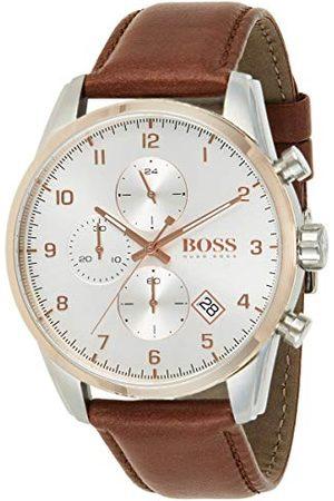 HUGO BOSS Męski analogowy zegarek kwarcowy ze skórzanym paskiem 1513786