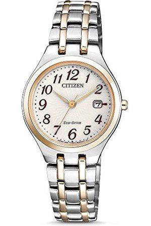 Citizen Damski analogowy zegarek solarny z bransoletką ze stali szlachetnej EW2486-87A