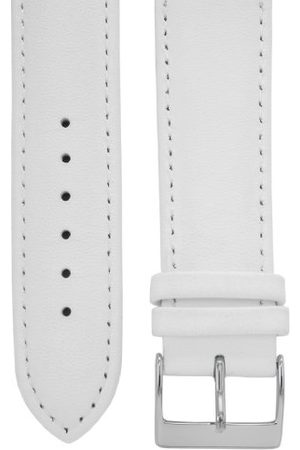 Cerberus Pasek do zegarka 20 mm skóra biała, długość 75x115 mm, zapięcie ze stali szlachetnej