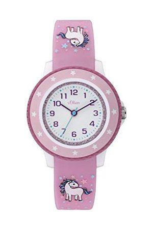 s.Oliver Dziewczęcy analogowy zegarek kwarcowy z silikonową bransoletką Taśma One Size Rosa