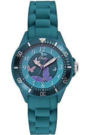 s.Oliver Dziecięcy analogowy zegarek kwarcowy z bransoletką silikonową Zegarek dziecięcy 35 mm turkusowy