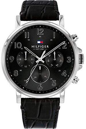 Tommy Hilfiger Męski wielofunkcyjny zegarek kwarcowy ze skórzanym paskiem 1710381