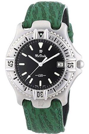Mx Onda Męski zegarek kwarcowy z czarnym wyświetlaczem analogowym i zielonym skórzanym paskiem 32-6200-45