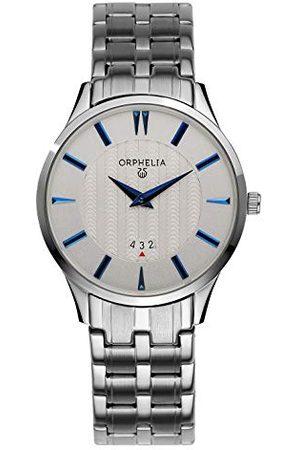 ORPHELIA Męski zegarek na rękę The Flatline analogowy kwarcowy stal szlachetna Pasek srebro