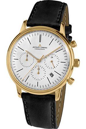 Jacques Lemans Unisex analogowy zegarek kwarcowy ze skórzanym paskiem N-209ZE