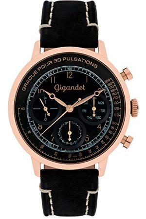 Gigandet G45-005 męski zegarek z czarnym skórzanym paskiem