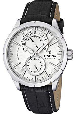Festina Męski zegarek na rękę XL klasyczny retro chronograf skóra F16573/1