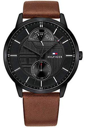 Tommy Hilfiger Męski multicyferblat kwarcowy zegarek Hunter ze skórzanym paskiem Taśma /