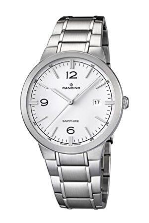 Candino Męski zegarek kwarcowy z białą tarczą analogową i srebrną bransoletą ze stali nierdzewnej C4510/1