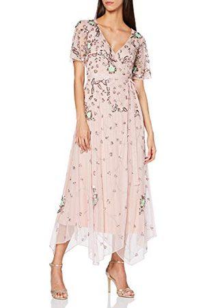 Amelia Rose Damska sukienka Acantha ozdobiona krótkim rękawem owijana sukienka midi formalna noc
