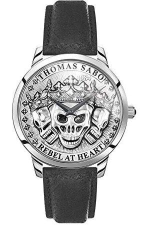 Thomas Sabo Mężczyzna Zegarki - Zegarek męski Rebel Spirit 3D czaszka koperta ze stali nierdzewnej skórzany pasek bransoletka jeden rozmiar srebro