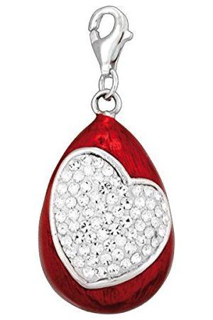Pasionista Unisex zawieszka czerwona z sercem i białymi cyrkoniami srebro wysokiej próby 925 607665