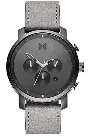 MVMT Męski analogowy zegarek kwarcowy ze skórzanym paskiem ze skóry cielęcej D-MC01-BBLGR