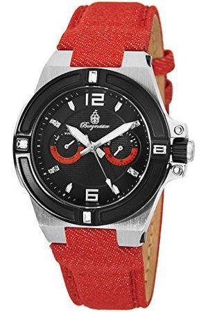 Burgmeister Męski zegarek kwarcowy z czarną tarczą analogową wyświetlaczem i czerwoną tkaniną i płócienną bransoletką BM220-924-1
