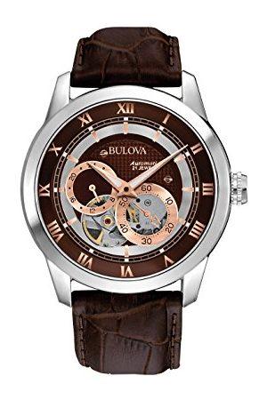 BULOVA Automatic – męski designerski zegarek automatyczny – pasek ze skóry bransoletka