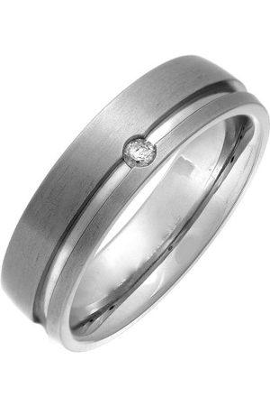 THEIA Tytanowy sąd 0,05 ct diament matowy i rowkowany pierścień 6 mm e Tytan, L, colore: Metaliczny, cod. TH3215