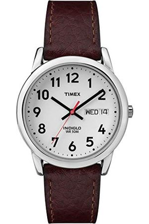 Timex Męski zegarek Easy Reader Day Data 35 mm pasek Brown/White