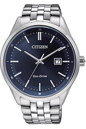 Citizen Męski zegarek kwarcowy z niebieskim wyświetlaczem analogowym i bransoletką ze stali nierdzewnej BM7251-53L