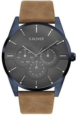 s.Oliver Męski zegarek na rękę, mechanizm kwarcowy, cyferblat 42 mm Braun Blau