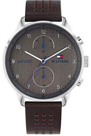 Tommy Hilfiger Męski wielofunkcyjny zegarek kwarcowy ze skórzanym paskiem 1791579